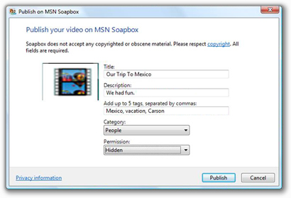 Windows Live Movie Maker con MSN Soapbox o Youtube